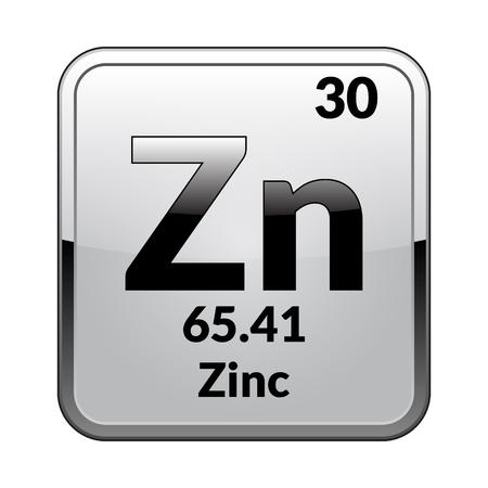 Zinksymbol. Chemisches Element des Periodensystems auf einem glänzenden weißen Hintergrund in einem silbernen Rahmen. Vektorillustration.