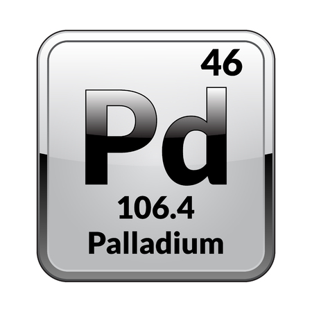 Palladium symbol.Chemical element of the periodic table on a glossy white background in a silver frame.Vector illustration. Illustration