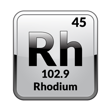 Rhodium symbol.Chemical element of the periodic table on a glossy white background in a silver frame.Vector illustration. Illustration