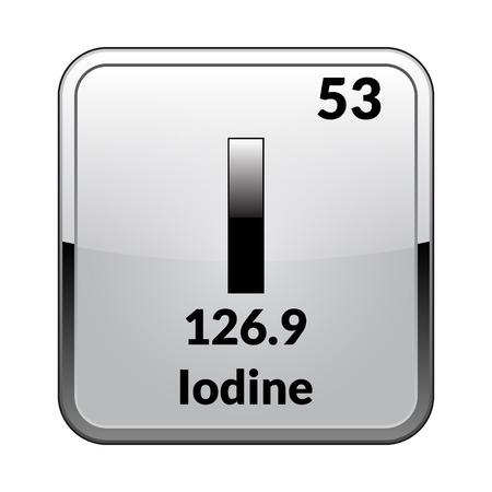 Symbole de l'iode. Élément chimique du tableau périodique sur un fond blanc brillant dans un cadre argenté. Illustration vectorielle. Vecteurs