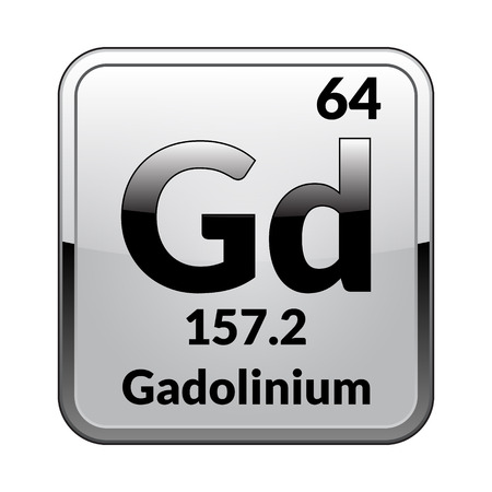 Gadolinium symbol.Chemical element of the periodic table on a glossy white background in a silver frame.Vector illustration.  イラスト・ベクター素材