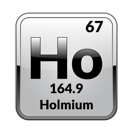 Holmium symbol.Chemical element of the periodic table on a glossy white background in a silver frame.Vector illustration. Illustration