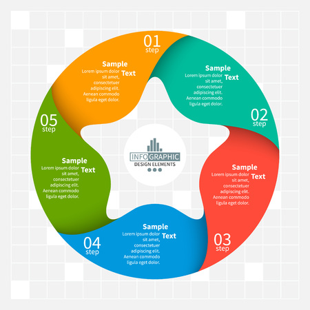 vector abstract 3d paper infographic elements.Five-pointed star.Circular infographics