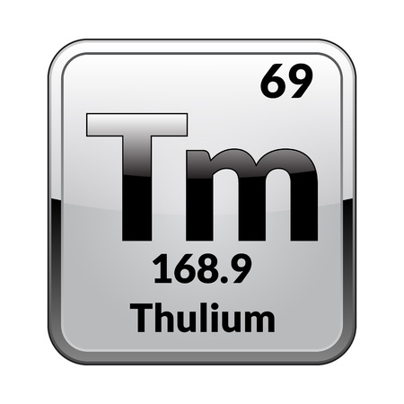 Thulium symbol.Chemical element of the periodic table on a glossy white background in a silver frame.Vector illustration. Иллюстрация