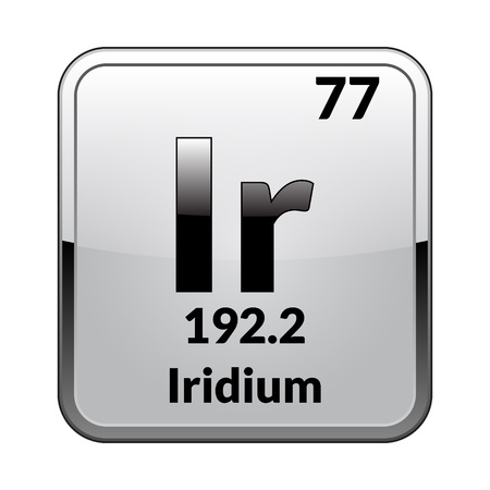 Iridium symbol.Chemical element of the periodic table on a glossy white background in a silver frame.Vector illustration.