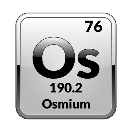 Osmium symbol.Chemical element of the periodic table on a glossy white background in a silver frame.Vector illustration. Иллюстрация