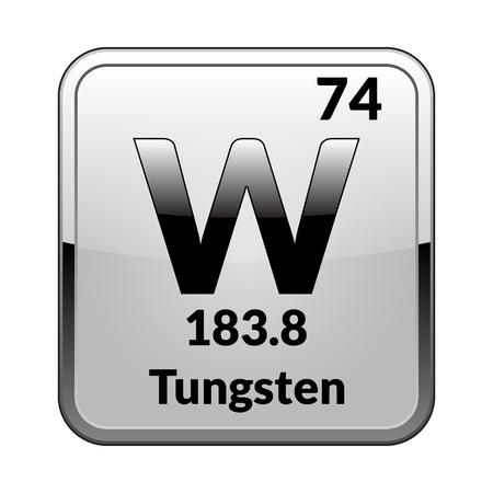 Symbole de tungstène. Élément chimique du tableau périodique sur un fond blanc brillant dans un cadre argenté. Illustration vectorielle. Vecteurs