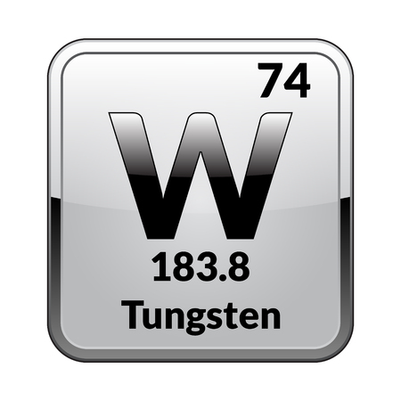 Tungsten symbol.Chemical element of the periodic table on a glossy white background in a silver frame.Vector illustration. Ilustrace