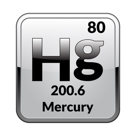 Quecksilbersymbol. Chemisches Element des Periodensystems auf einem glänzenden weißen Hintergrund in einem silbernen Rahmen. Vektorillustration.