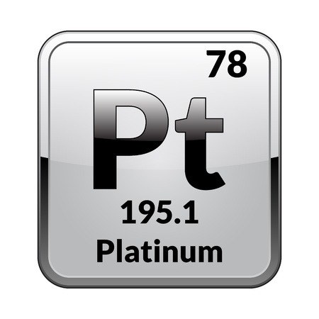 Platinum symbol.Chemical element of the periodic table on a glossy white background in a silver frame.Vector illustration.