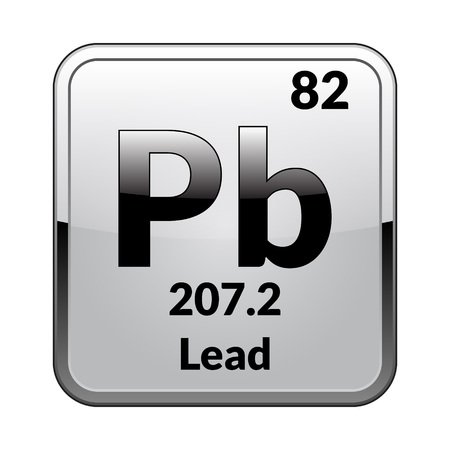 Lead symbol.Chemical element of the periodic table on a glossy white background in a silver frame.Vector illustration. Vector Illustration
