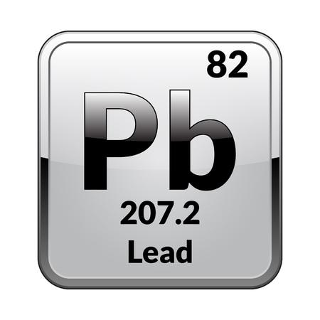 Simbolo di piombo. Elemento chimico della tavola periodica su uno sfondo bianco lucido in una cornice d'argento. Illustrazione di vettore. Vettoriali