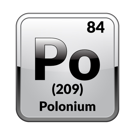 Polonium symbol.Chemical element of the periodic table on a glossy white background in a silver frame.Vector illustration.