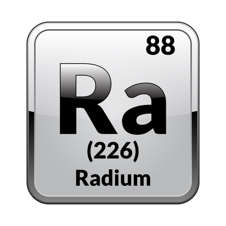Radium symbol.Chemical element of the periodic table on a glossy white background in a silver frame.Vector illustration.