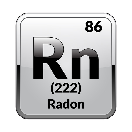 Radon symbol.Chemical element of the periodic table on a glossy white background in a silver frame.Vector illustration.