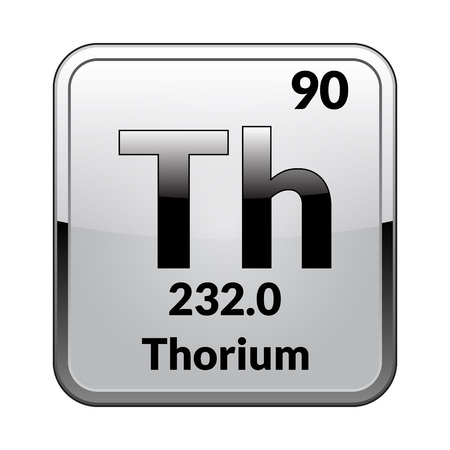 Thorium symbol.Chemical element of the periodic table on a glossy white background in a silver frame.Vector illustration.