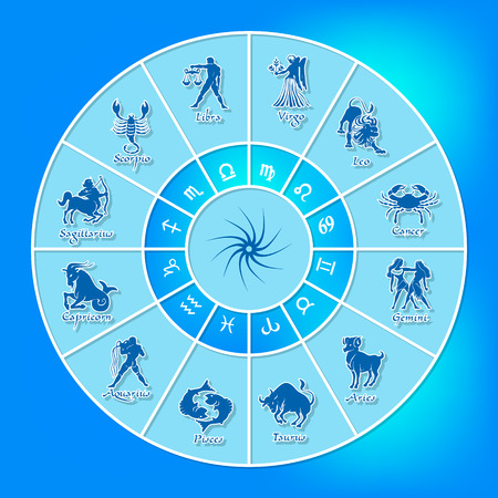 Blue horoscope circle.Circle with signs of zodiac.Vector illustration Stock Illustratie
