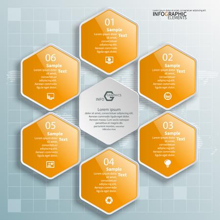vector abstract 3d paper infographic elements.Hexagon infographics.Honeycomb design Иллюстрация