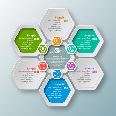 vector abstracte 3d papieren infographic elementen. hypagon infographics. honingraat ontwerp