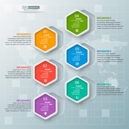 Vector de elementos de infografía de papel 3d abstracto. Infografía de hexágono. Diseño de panal Ilustración de vector