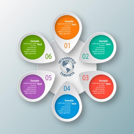 Vector abstracto elementos de infografía de papel 3d. Infografía circular
