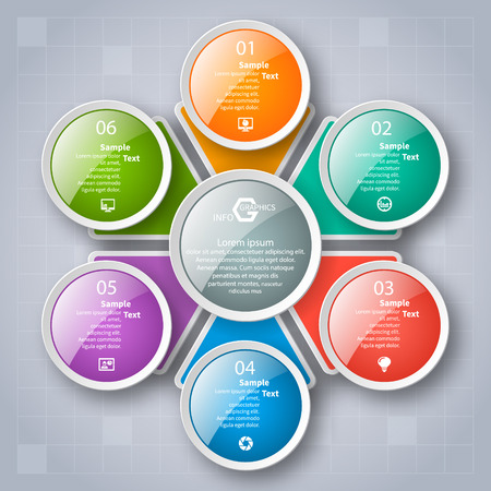 Vektor abstrakte 3D-Papier Infografik Elemente. Kreisförmige Infografiken