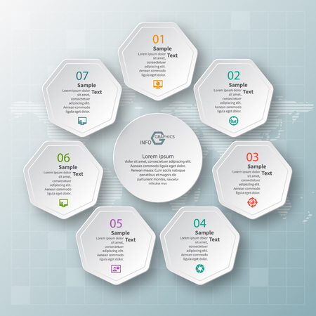 Vektor abstrakte 3D-Papier Infografik Elemente. Kreisförmige Infografiken Vektorgrafik