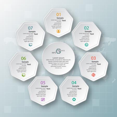 wektor abstrakcyjne 3d papierowe elementy infografiki. Okrągłe infografiki Ilustracje wektorowe