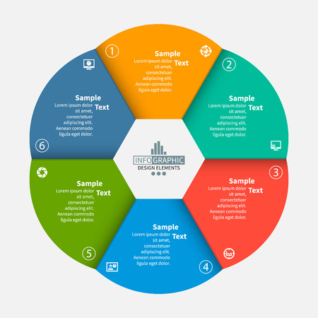 vecteur, résumé, 3d, papier, infographic, elements., circulaire, infographics Vecteurs