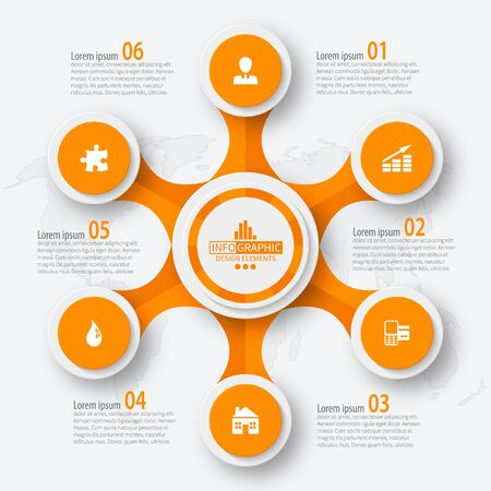 vector abstract 3d paper infographic elements.Circular infographics Ilustração Vetorial