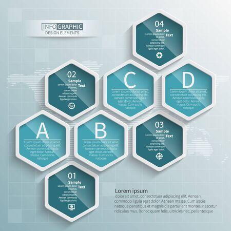 vector abstract 3d paper info graphic elements.Hexagon info graphics. Honeycomb design