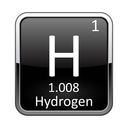 Hydrogen symbol.Chemical element of the periodic table on a glossy black background in a silver frame.Vector illustration.