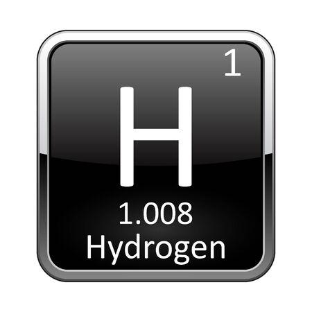 Wasserstoffsymbol. Chemisches Element des Periodensystems auf einem glänzenden schwarzen Hintergrund in einem silbernen Rahmen. Vektorillustration.