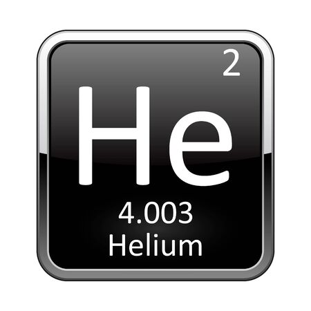 Helium symbol.Chemical element of the periodic table on a glossy black background in a silver frame.Vector illustration.