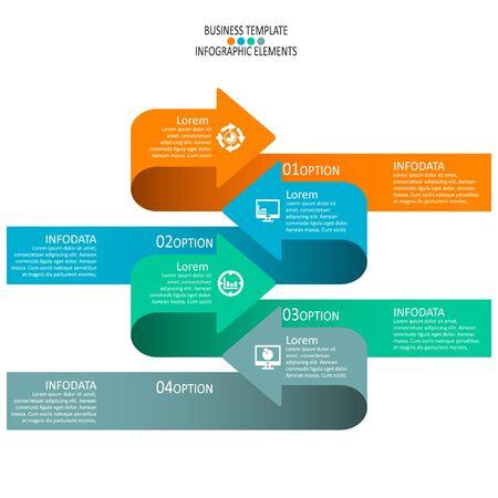 Vector de elementos de infografía de papel 3d abstracto. Infografía de negocios Ilustración de vector