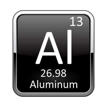 Aluminum symbol.Chemical element of the periodic table on a glossy black background in a silver frame.Vector illustration.