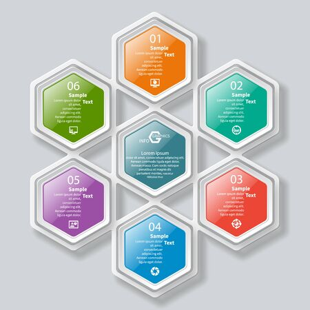 vector abstract 3d paper infographic elements.Hexagon infographics.Honeycomb design Çizim
