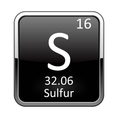 Sulfur symbol.Chemical element of the periodic table on a glossy black background in a silver frame.Vector illustration.