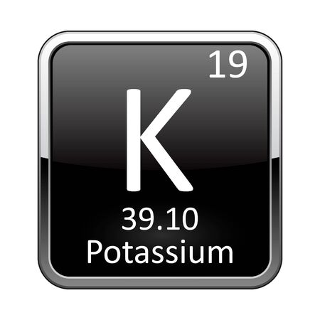 Potassium symbol.Chemical element of the periodic table on a glossy black background in a silver frame.Vector illustration. Vektorgrafik