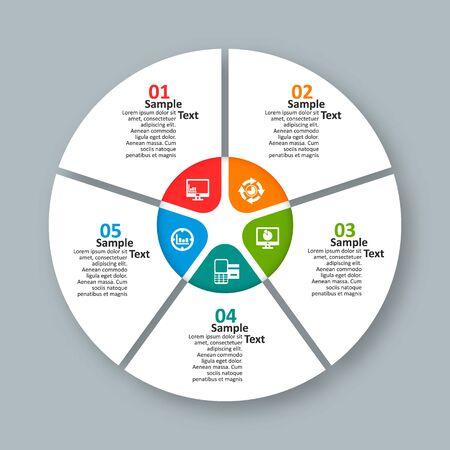 wektor abstrakcyjne 3d papierowe elementy infografiki. Okrągłe infografiki