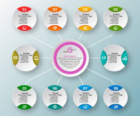 Vector de elementos de infografía de papel 3d abstracto. Infografía de negocios