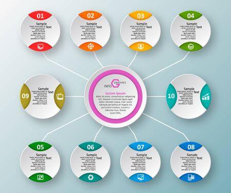 vettore astratto 3d elementi di carta infografica. Infografica di affari