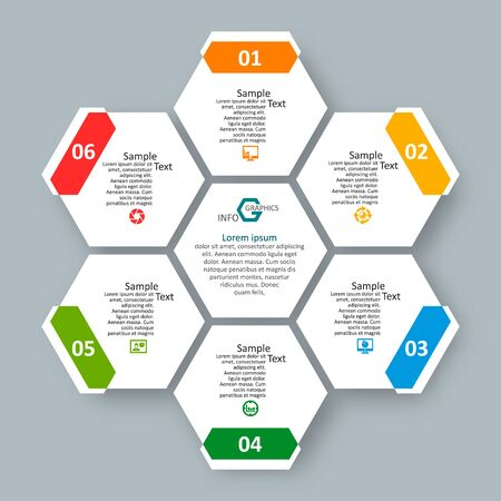 vector abstract 3d paper infographic elements.Hexagon infographics.Honeycomb design 向量圖像