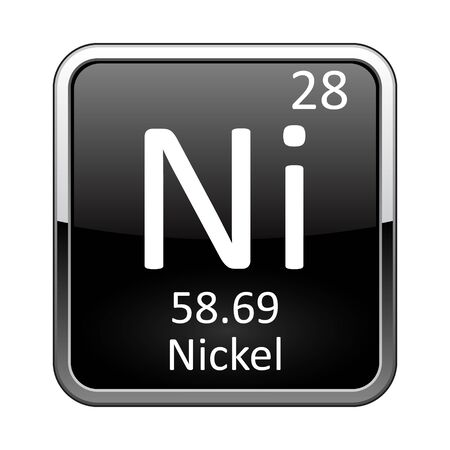Nickel symbol.Chemical element of the periodic table on a glossy black background in a silver frame.Vector illustration.