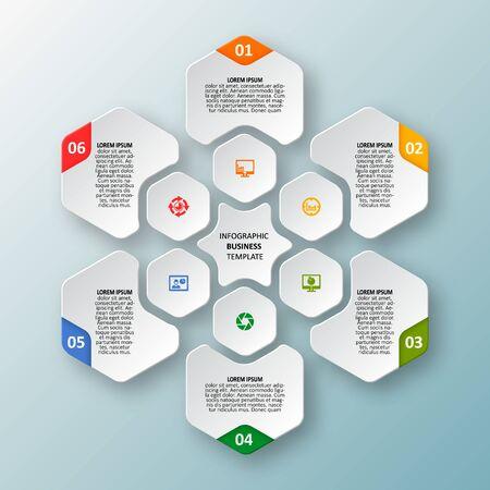 wektor streszczenie 3d papierowe elementy infografiki. Sześciokąt infografiki. Projekt o strukturze plastra miodu