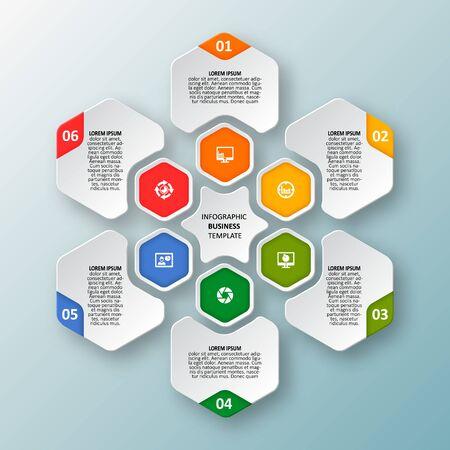 Vector de elementos de infografía de papel 3d abstracto. Infografía de hexágono. Diseño de panal
