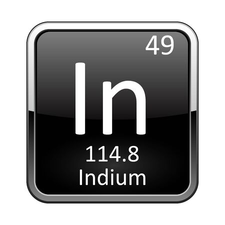 Indium symbol.Chemical element of the periodic table on a glossy black background in a silver frame.Vector illustration.