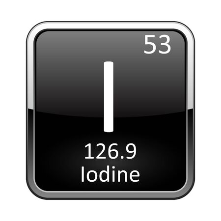 Iodine symbol.Chemical element of the periodic table on a glossy black background in a silver frame.Vector illustration. Vecteurs