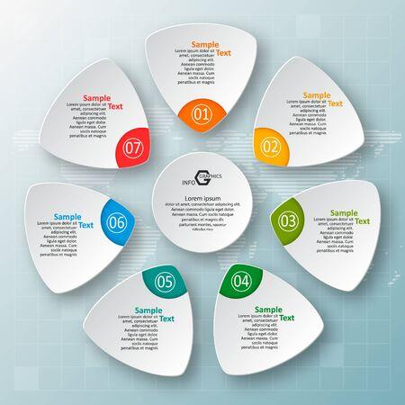 Vektor abstrakte 3D-Papier Infografik-Elemente. Kreisförmige Infografiken