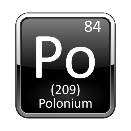 Polonium symbol.Chemical element of the periodic table on a glossy black background in a silver frame.Vector illustration.